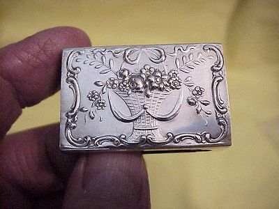 Early 800 Silver Reposse Match Box Holder  With Hallmarks  Mono #4