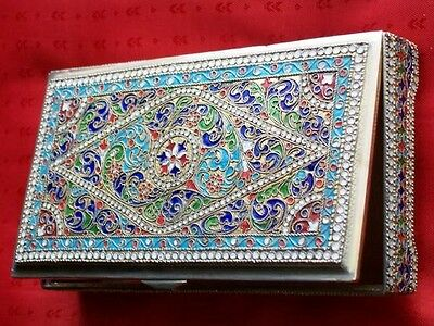 Large Russian Table Silver Cloisonne Enamel Jewerly Box Antique Русская Шкатулка