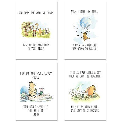 Winnie the Pooh Classic Art Prints - Set of Four Wall Art Decor Photos Nursery B