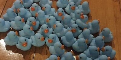 42 LIGHT BLUE Mini Bathtime Rubber Duck Kids Baby Toy Squeaky Water Play Fun
