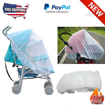 White Mesh Mosquito Net Canopy Cover for Baby Stroller Infant Carriers Car Seats