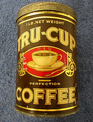 TRU CUP Coffee Tin Can Original Lid Collectible Vintage ADVERTISING MINT BD20