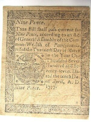 Colonial Currency Pennsylvania 1777, Nine Pence , Very Fine