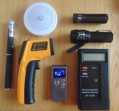 Starter Paranormal Investigation Ghost Hunting Equipment Kit. 7 Items