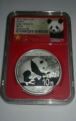 2016 Silver Panda Coins MS70 NGC Rare Red Core 30g 10Y Early Release
