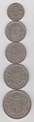 1957 England (UK)  5 Coin Lot -  6P, 2x 1 Shilling, 2 Shillings, 1/2 Crown