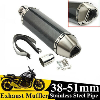 New 38-51mm Motorcycle Exhaust Muffler Tip Pipe With Removable Silencer Kit