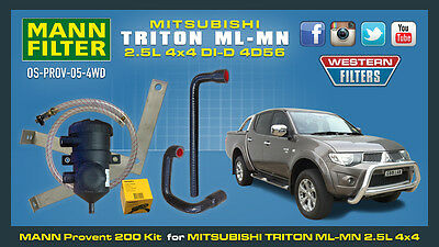Mitsubishi Triton ML MN 2.5 Ltr ProVent Oil Catch Can Kit 4x4 130 Kw Eng 4D56