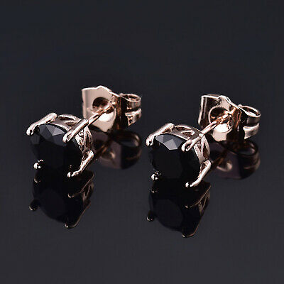 1e95f7390 Retro 7mm Black Crystal Onyx Butterfly-Stud Rose Gold Filled Women Lady  Earrings