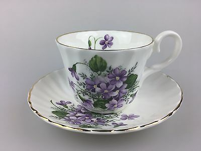 Cup And Saucer (Duo) - Violets - Made In England - Bone China