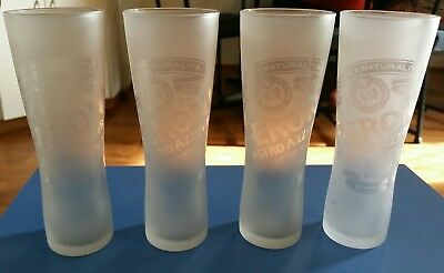 Set of 4 Peroni Nastro Azzurro quality frosted beer glasses  300ml