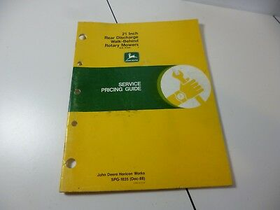 John Deere 21inch Rear Discharge Rotary Mower Service Pricing Guide 1988