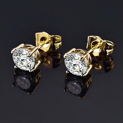 Retro 7mm Clear Crystal Sapphire Yellow Gold Filled Women Lady Stud Earrings BOX