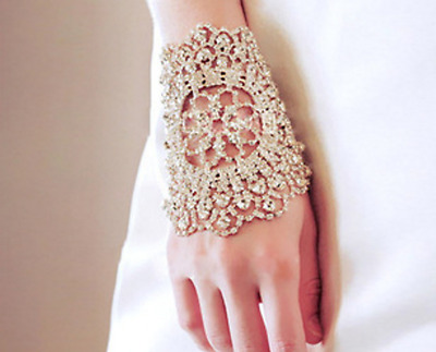 White Bridal Jewery Bracelet/Wristband with Crystal Rhinestone for Wedding/Party
