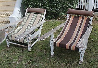 vintage squatters chairs x2 with canvas slings PU Ipswich Q 4305