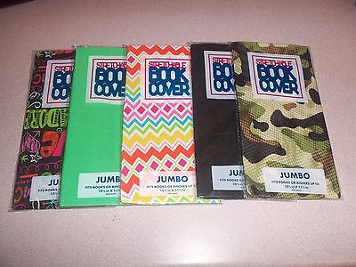 5 JUMBO Stretchable Fabric Book Covers, Patterns and Solid Colors,  Brand New
