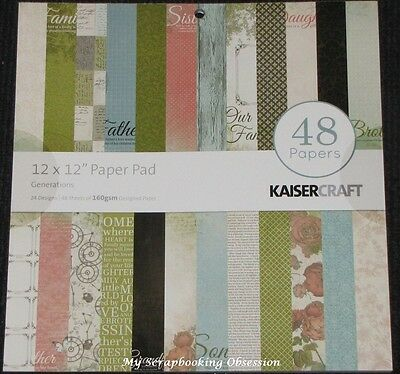 "Kaisercraft 'GENERATIONS' 12"" Paper Pad 48 Sheets (24 Designs x2) KAISER"