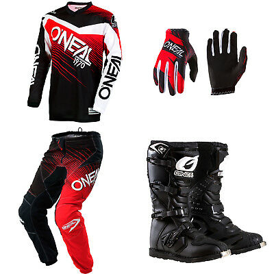 ONeal Element Red motocross dirtbike MX gear - Jersey Pants Gloves Boots Combo