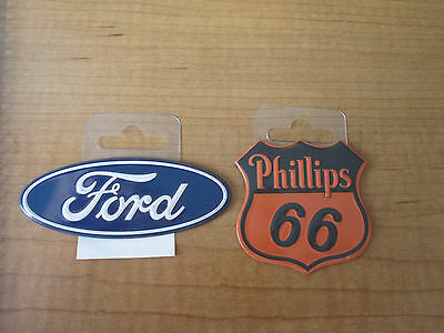(2) Phillips 66 Gas Oil & FORD Oval Dealer Metal Toolbox Mancave Magnets