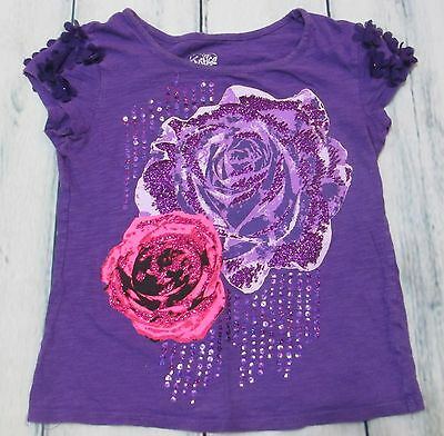 Justice Girls Size 10 Short Sleeve Purple Glitter Flower Top Good Condition