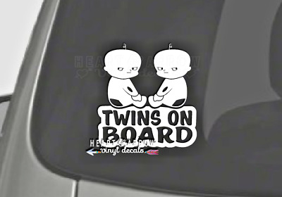 "Twins On Board Decal 6"" Car Window Twin Girls, Boys, Sign Bumper Sticker Funny"