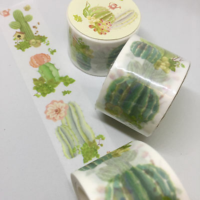 Washi Tape Wide Vertical Cactus Succulent 30Mm X 8Mtrs Craft Wrap Plan Scrap