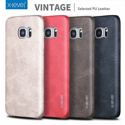 X-Level Retro Vintage Slim Genuine Soft PU Leather Back Case Cover For Samsung