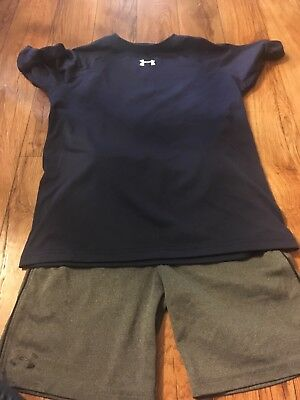 Boys Under Armour Dry Fit Shirt And Shorts Size 7 And Youth Medium