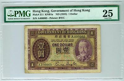 Hong Kong, Government Of Hong Kong 1935 1 Dollar P-311 Pmg-25 Very Fine. Scarce