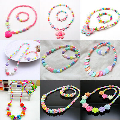 Necklace& Bracelet Jewelry Kids Girls New Candy Colors Variety Of Styles Sets