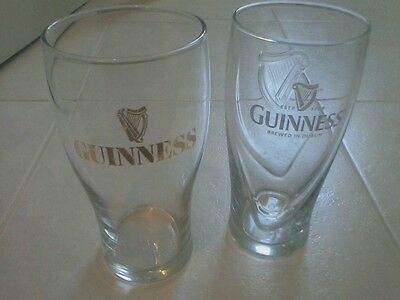 Guinness Irish Pint Beer Glasses 16oz Pre Owned Set of 2 Various Styles pub bar