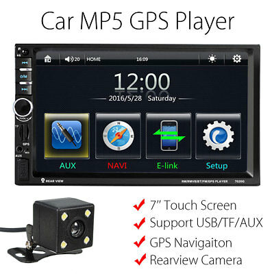 7'' Touch Screen Car Head Unit Stereo MP5 Player GPS Bluetooth USB TF FM+ Camera