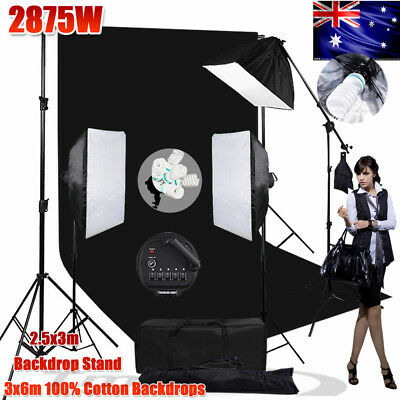 3425W Photo Softbox Lighting Boom Light KIT+3X6M Black Muslin Backdrop Stand Set