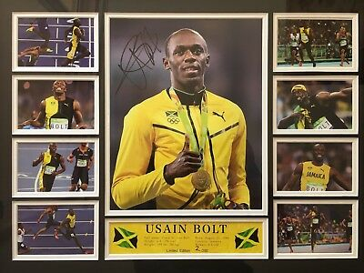 Usain Bolt Signed & Framed Collage