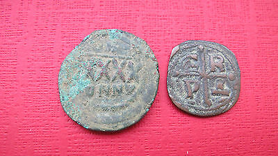 Byzantine coins AD 1028 Christ and AD 500-600