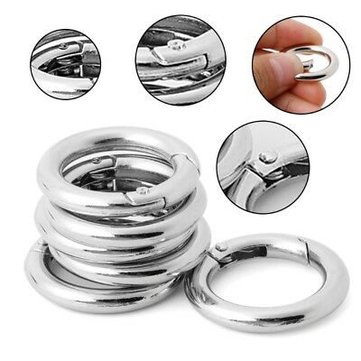 6pcs Circle Hook Ring Round Buckle Camp Spring Snap Clip Keychain Climbing Tool