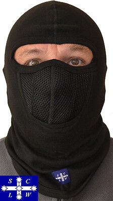 Unisex Black Motorcycle Riders Balaclava with Chill Breaker Protection