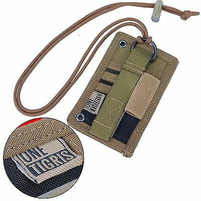 Tactical ID Card Holder Military Patch Badge Neck Lanyard Credit Card Key Ring