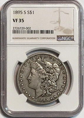 1895-S $1 Morgan Silver Dollar NGC VF 35, Key Date, Low Mintage of 400,000