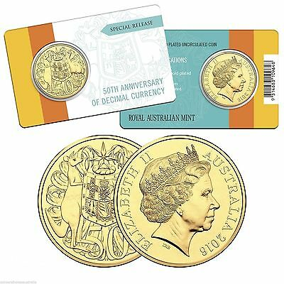 2016 50th Anniversary Of Decimal Currency Gold Plated Round 50 Cent Coin RAM.