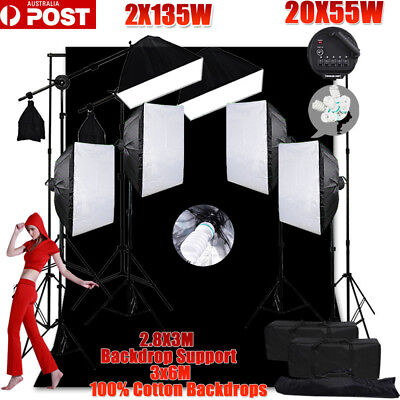 6850W Photo Studio Softbox Continuous Lighting Black Muslin Backdrop Stand KIT