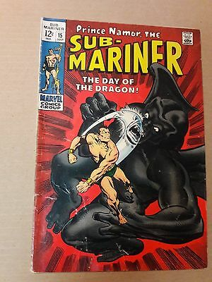 "Sub-Mariner # 15 Jul 1969 Marvel ""the Day Of The Dragon!"" Stan Lee"