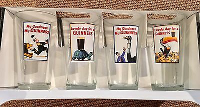 (4) GUINNESS Glasses DRAUGHT PUB-BEER Ale STOUT Lager - 16oz NEW!