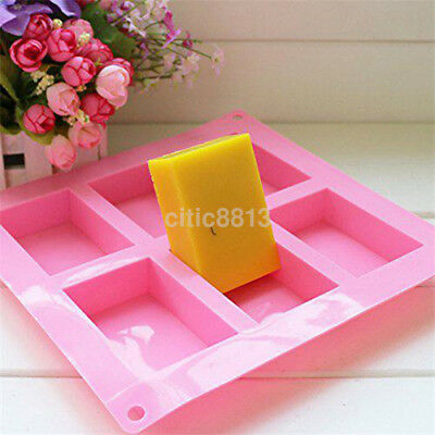 New 6-Cavity Rectangle Soap Mold Silicone Mould Tray for Homemade DIY Making Big