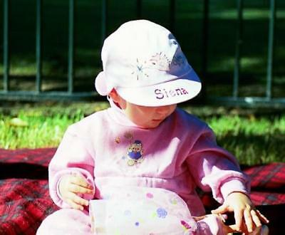 Girl's baby 0-1 yr hand painted personalised pink legionnaire cap beach hat gift