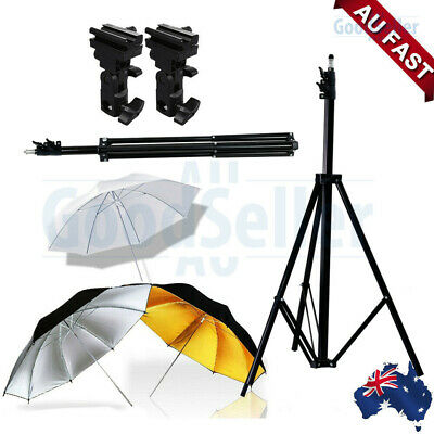 "Photo Studio Speedlite Umbrella Lighting Light Stand +Bracket B+33"" Umbrella AU"