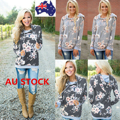 Women Long Sleeve Hoodie Pullover Sweatshirt Floral Hooded Jumper Tracksuit Coat