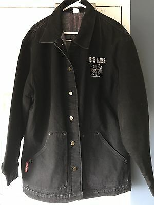 Men`s M / L Large Size West Coast Choppers Usa Jesse James Black Jacket Euc