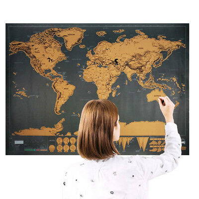 Scratch Off Map World Deluxe edition Large Personalized Travel Poster Gift
