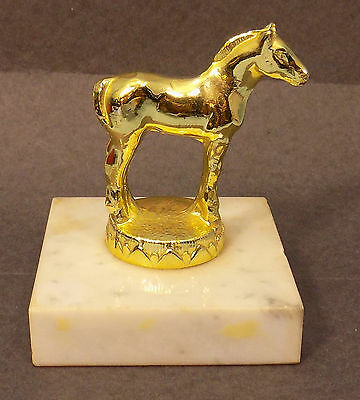 Small Horse Trophy Award ON marble base GOLDEN HORSE EQUESTRIAN COLLECTIBLE GIFT